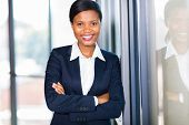 happy african american businesswoman closeup portrait in office