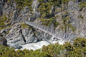 Chain Hiking Bridge, Aoraki, Mount Cook National Park, South Island New Zealand