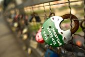 KRAKOW, POLAND - APR 8, 2014: Kladka Bernatka bridge of love with love padlocks. Footbridge Ojca Ber