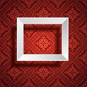 vector empty white frame on red baroque wallpaper