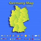 Germany map infographic political map individual states blue green card paper 3D raster
