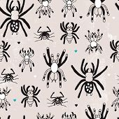 Seamless creepy spiders vintage hand drawn illustration background pattern in vector