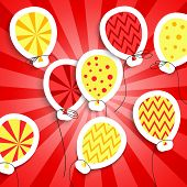 image of applique  - Happy birthday colorful applique background - JPG