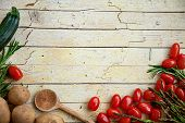 foto of wooden basket  - Fresh organic vegetables - JPG