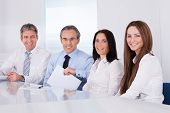 Happy Businesspeople In A Row