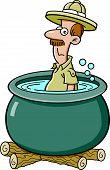 Cartoon explorer in a cooking pot
