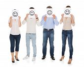 Group Of A People Holding Smiley