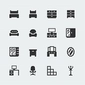 pic of bunk-bed  - Vector home furniture mini icons set  - JPG