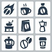 Vector Isolated Coffee Icons Set
