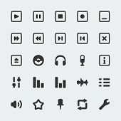 Vector Audio Player Mini Icons Set