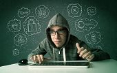 picture of virus scan  - Young nerd hacker with virus and hacking thoughts on green background - JPG