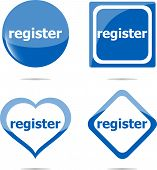 Register Stickers Set Isolated On White, Icon Button