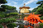 Chinese pavilion at the park of Hong Kong