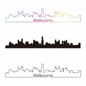 Melbourne Skyline Linear Style With Rainbow