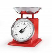 Vintage Red Kitchen Scales Isolated On White Background, Clipping Path.