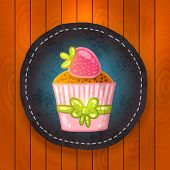 vector cupcake with chocolate and strawberry.