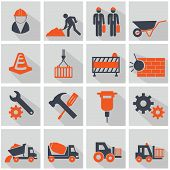 picture of skid-steer  - construction  and trucks  icon set - JPG