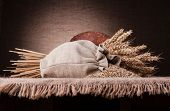 Bread, flour sack and ears bunch still life on rustic background