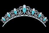 image of tiara  - Vintage silver tiara with jewels on black background - JPG