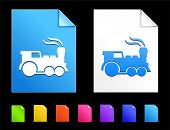Locomotive Icons on Colorful Paper Document Collection