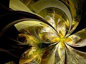 Symmetrical Gold Fractal Flower, Digital Artwork