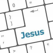 Jesus Word Button On Keyboard With Soft Focus