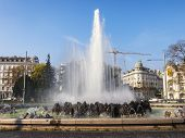 Vienna, Austria, on March 25, 2014. The High Stream fountain on Schwarzenbergplatz
