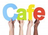 Group of Multiethnic Hands Holding Cafe