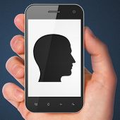 Marketing concept: Head on smartphone