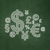 News concept: Finance Symbol on chalkboard background