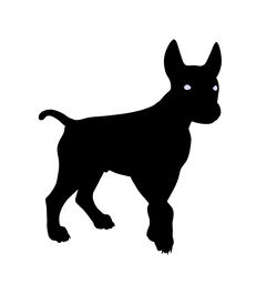 pic of coxcomb  - Black puppy dog art illustration silhouette on a white background - JPG
