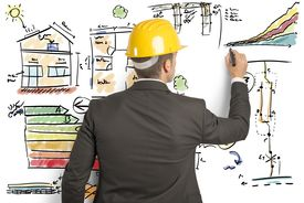 stock photo of draft  - Engineer that calculates the energy efficiency of a house - JPG