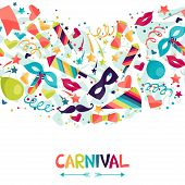 image of birthday hat  - Celebration seamless pattern with carnival icons and objects - JPG