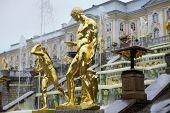 Fountains Grand Cascade In Pertergof, Saint-petersburg, Russia