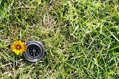 Classic compass on grass field
