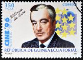 EQUATORIAL GUINEA - CIRCA 1996: A Stamp printed in Guinea dedicated to cinema show Vittorio de Sicca