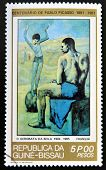 GUINEA - CIRCA 1981: A stamp printed in Republic of Guinea Bissau shows Acrobat on a Ball