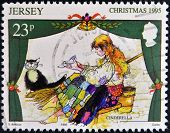 JERSEY - CIRCA 1995: A stamp printed in Jersey shows Scene from the fairy tale Cinderella circa 1965
