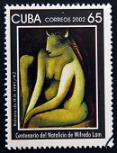CUBA - CIRCA 2002: A stamp printed in cuba shows portrait of H.H. by Wifredo Lam circa 2002