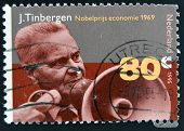 NETHERLANDS - CIRCA 1995: Stamp printed in Holland shows Jan Tinbergen Dutch economist circa 1995.