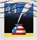 UNITED STATES OF AMERICA - CIRCA 2011: A stamp printed in USA shows Patriotic Quill Pen and Inkwell