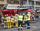 Firemen discussing intervention in Geneva, Switzerland