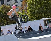 BMX rider making a bike jump, Geneva, Switzerland
