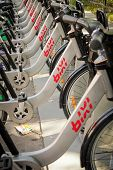 MONTREAL  CANADA - AUGUST 20: Row of Bixi Montreal's public bike system  august 20, 2014 in MONTREAL