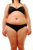 stock photo of flabby  - A full front view of an overweight lady who needs to make changes to her diet - JPG