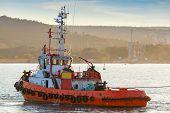 Red Tug Is Underway On Black Sea, Varna Harbor, Bulgaria