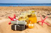 christmas gifts on beach