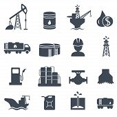 picture of derrick  - Set of oil and gas grey icons on white background - JPG
