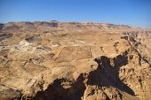 image of zealots  - View on Judean desert and Roman fortification ruins from Masada fortress Israel - JPG