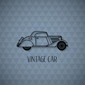 Retro cabriolet car, vintage outline style